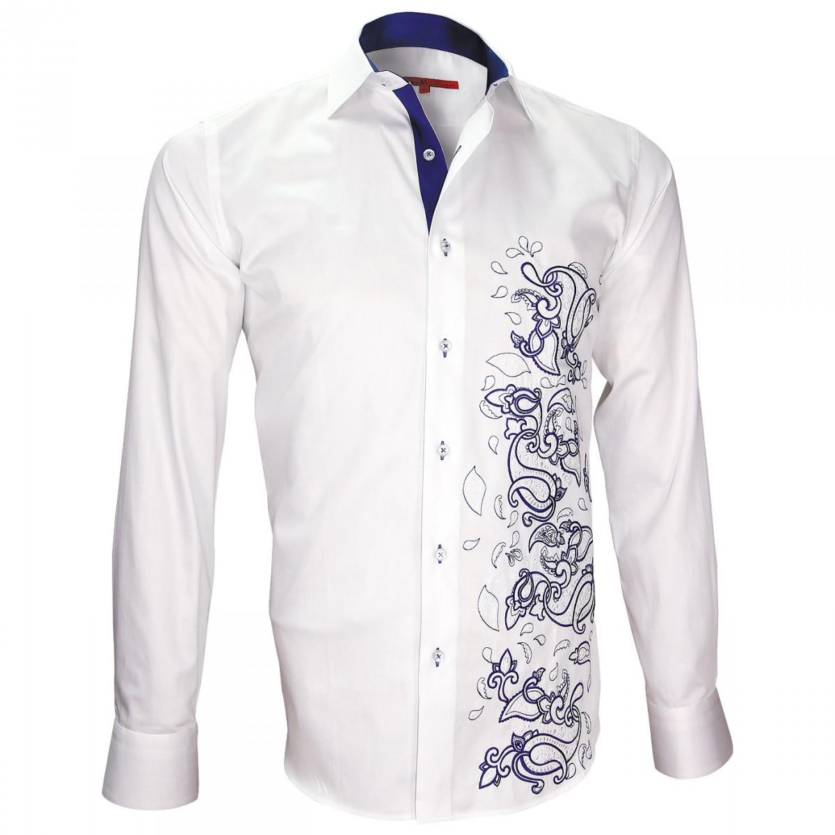chemise italienne cintree homme,chemise brodee femme,chemise