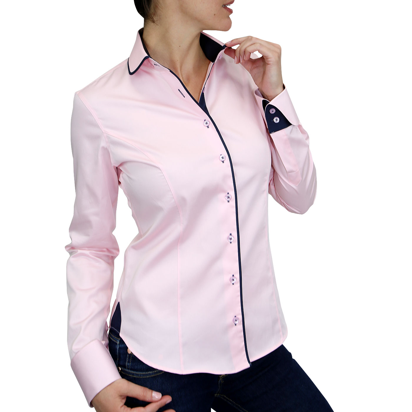 chemise col rond & poignets napolitains